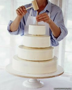 Step by step instructions how to level, fill, ice and stack a cake - the Martha Stewart way.