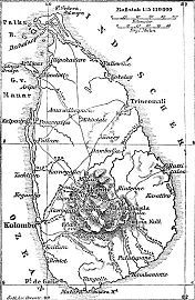 Late 19th century German map of Ceylon.