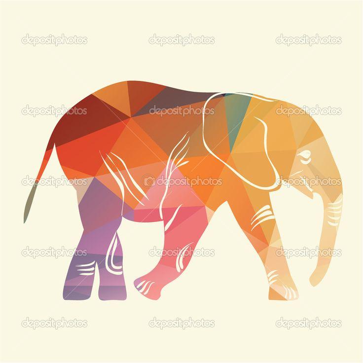Скачать - Мультфильм слон. Силуэт слона, собранных от — стоковая иллюстрация #25366699