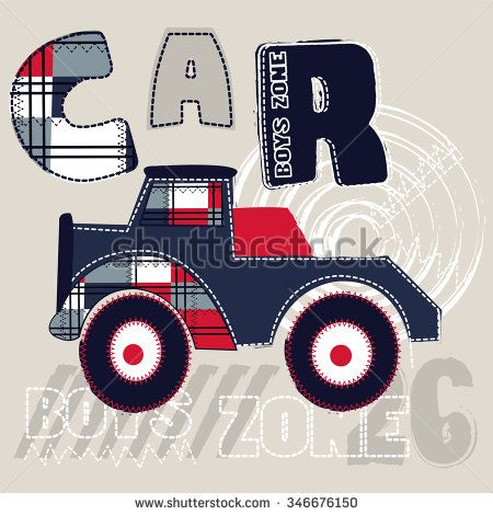 big car cartoon for boys, T-shirt design vector illustration