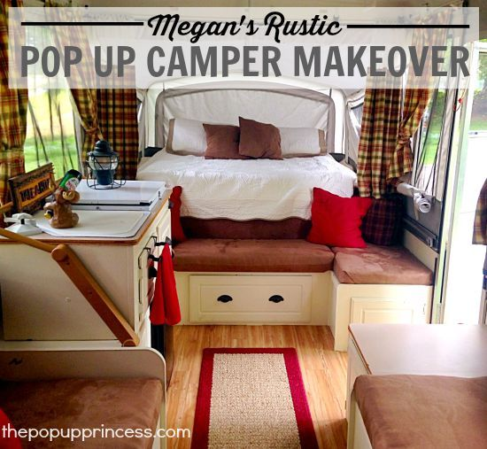 Megan's Pop Up Camper Makeover:  This cute, rustic pop up trailer makeover was completed on a small budget.  The cabin theme is perfect for a home away from home.