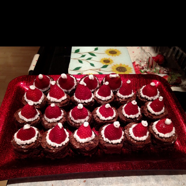 Ugly Christmas Sweater Party Food Ideas Part - 48: Santa Hat Brownies For My Ugly Sweater Party