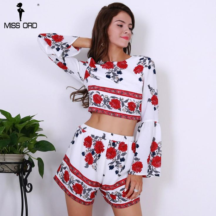 Sexy O Neck Long Sleeve Flower Print Two PCS Women Casual Playsuit