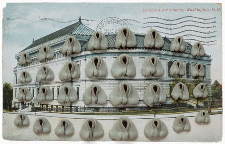 """Hannah Wilke made her signature vaginal sculptures from chewing gum which she formed into intricate shapes and placed on her body for the S.O.S. photographic series. Wilke also placed gum sculptures on postcards, in small boxes, on sheets of paper and on multiple grids of paper. She made kneaded erasers into vaginal shapes she placed on architectural and landscape postcards and made a series called """"Needed-Erase-Her""""."""