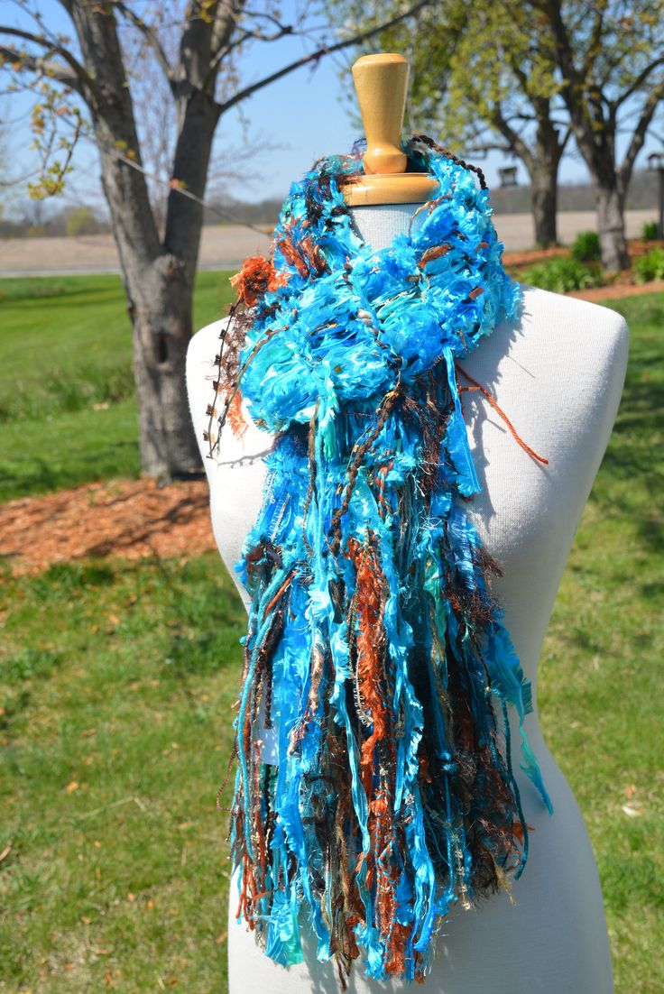 Knit Fringe scarf, Dumpster Diva, Vibrant Aqua Blue and Copper satin ribbon knit artsy fringed knit scarf, ribbon scarves, Aqua Beach, boho by RockPaperScissorsEtc on Etsy