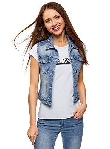 7b180693c7 oodji Ultra Donna Gilet in Jeans con Rivetti sul Colletto Blu IT 38 ...