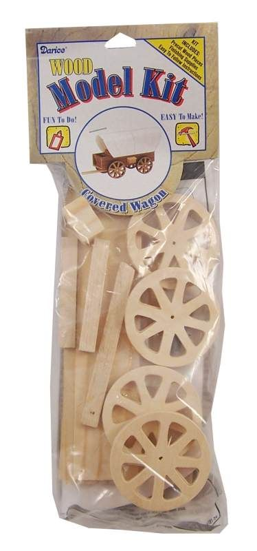 Covered Wagon Wood Model Kit - on sale for 74 Cents!!  Several of these would be inexpensive gifts for a shoe boxes for boys!