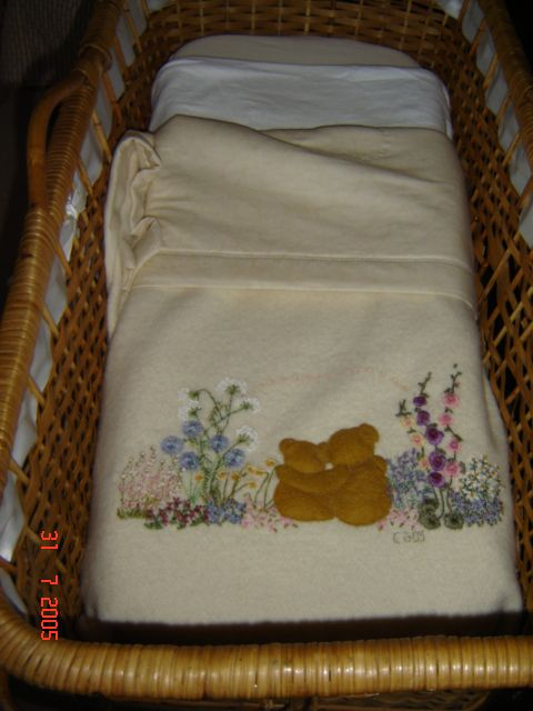 Beautiful embroidered baby blanket