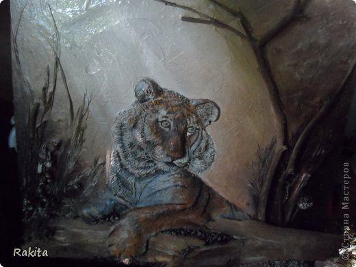 Картина панно рисунок День рождения Папье-маше Объемное панно с тигром Бумага Материал природный фото 1