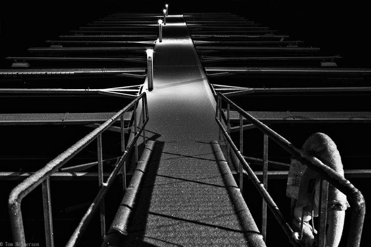 Snowy pier at night. by Tom Helmersen on 500px