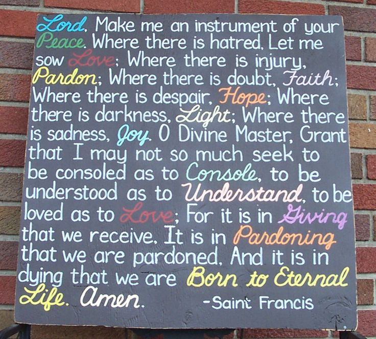 Prayer of St Francis Religious SIGN 24x24 Sarah McLachlan Lyrics Subway Distressed primitive Love Faith Handmade Hand-painted Wooden WHAGN. $89.00, via Etsy.