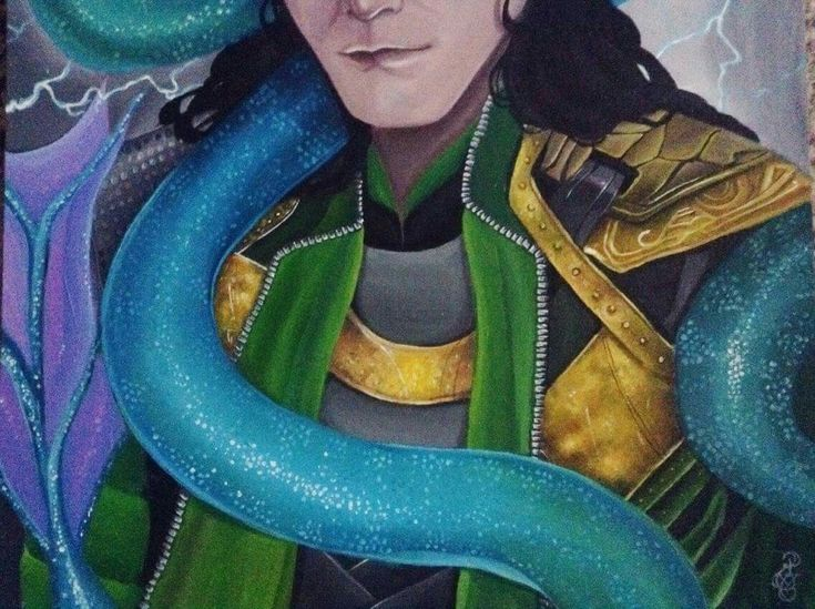 Loki and his son Jormungand  2018 *details*  Painting with acrylic on 50/70 canvas