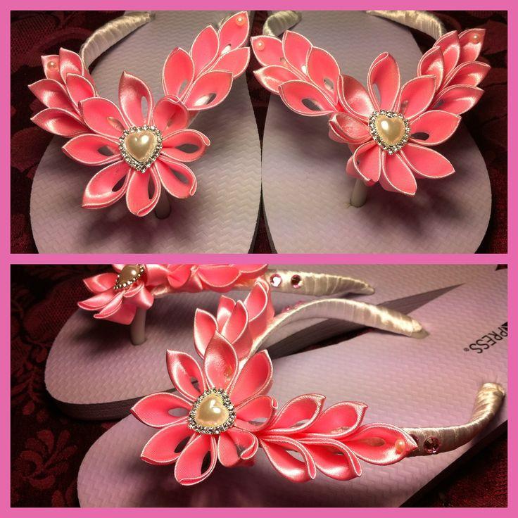 Bridesmaids pink kanzashi flower thongs flip flops.