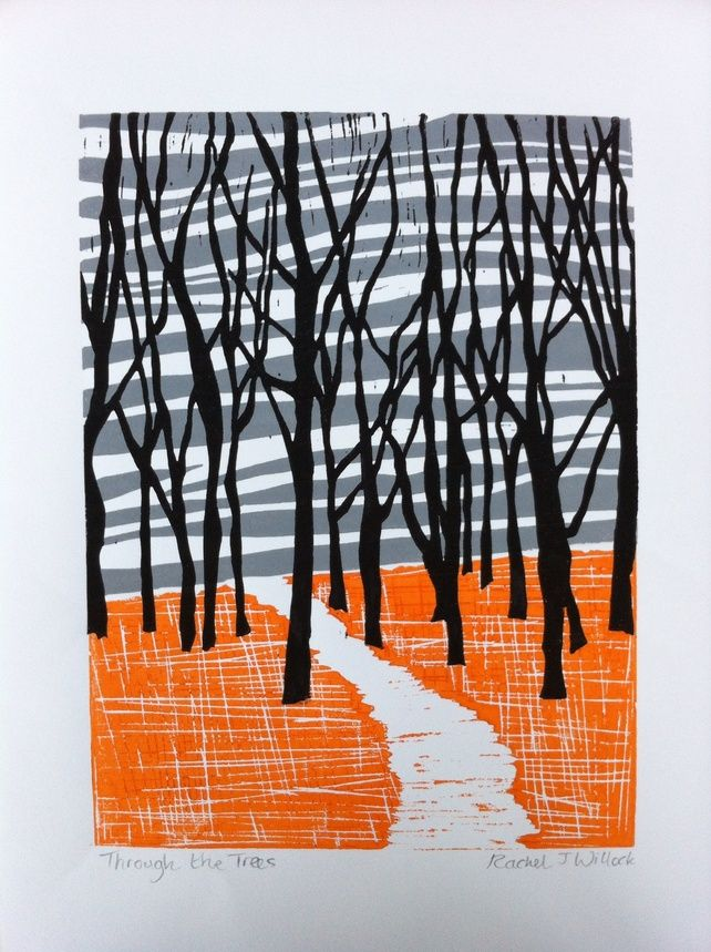 'Through the Trees Linocut print £30.00