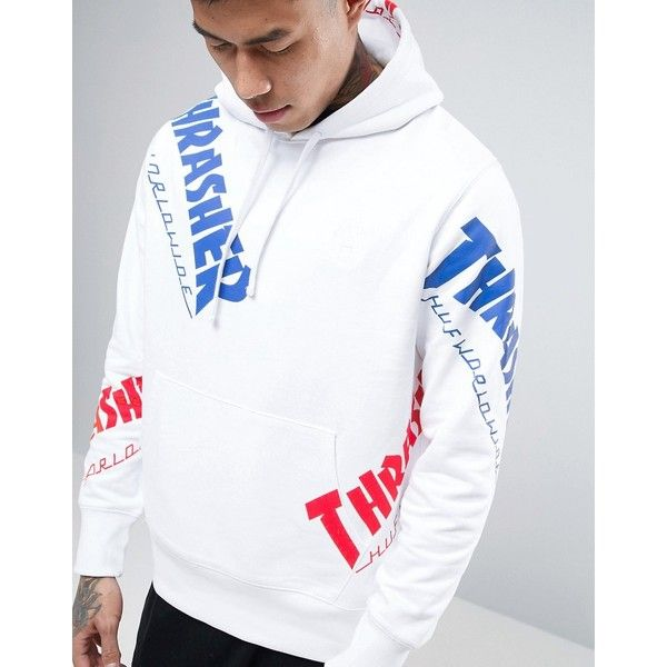 HUF x Thrasher Logo Print Hoodie ($120) ❤ liked on Polyvore featuring men's fashion, men's clothing, men's hoodies, mens cotton hoodies, mens sweatshirts and hoodies, mens hoodies and mens tall hoodies