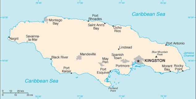 Country Maps: Map of Jamaica