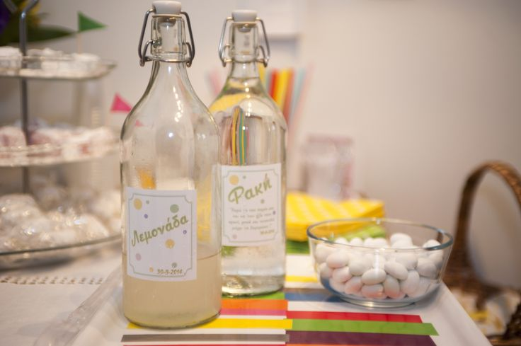 Bottles with lemonade and raki for our guests. The labels were designed by Katerina Zeimpeki. https://www.pinterest.com/katzevster/