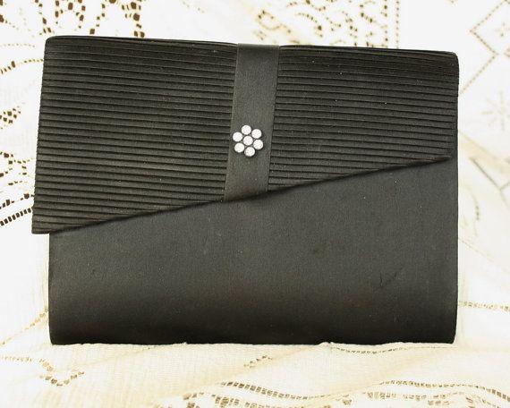 Vintage Evening Bag Clutch Purse Black Satin by EmeliasCupboard