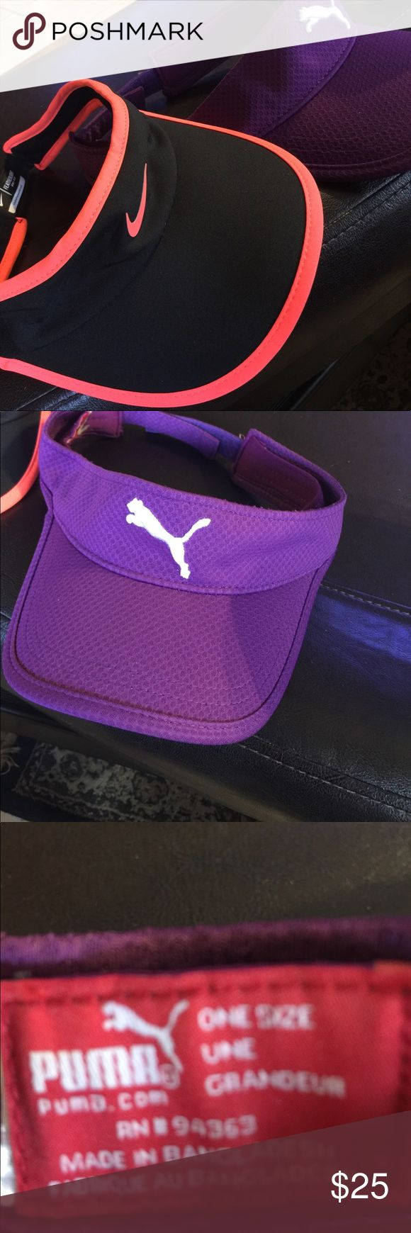 Sun Visors Nike Dri-Fit black/coral sun visor expandable back new with tag and Puma Sunvisor in excellent condition $25 Bunnies or $15 each nike/puma Accessories Hats