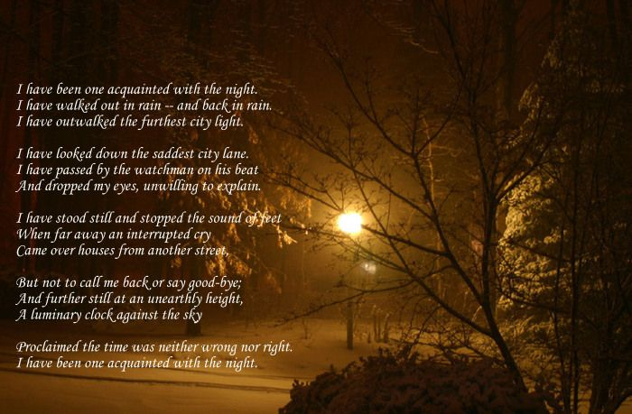 """""""Acquainted with the Night"""" by Robert Frost"""