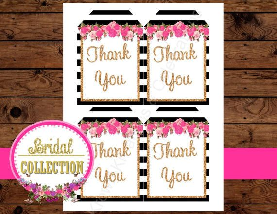Black And White Striped Bridal Shower Thank You Tags