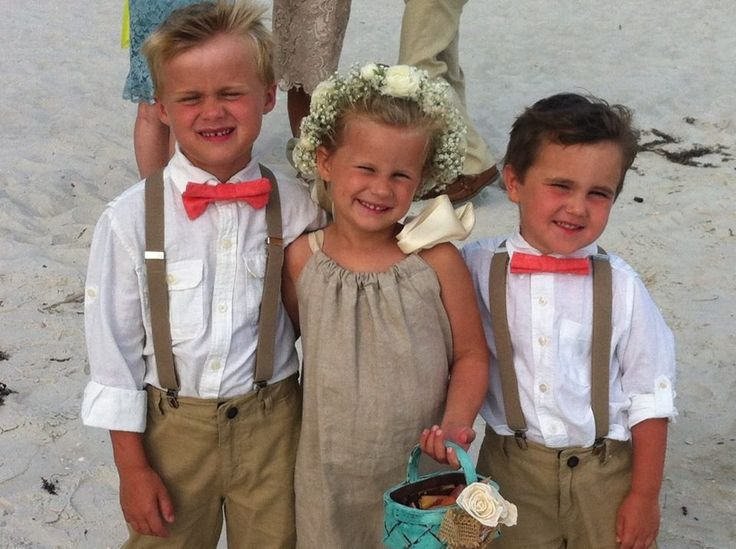 Suspenders and coral bow tie ring bearers and burlap flower girl dress Carillon Beach, FL wedding