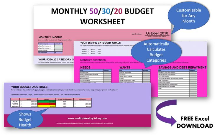 Free 50/30/20 Budget Worksheet Free Excel Download to Help you