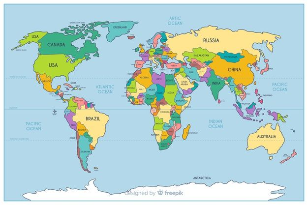 Download Geographic Colored Political World Map For Free Vector