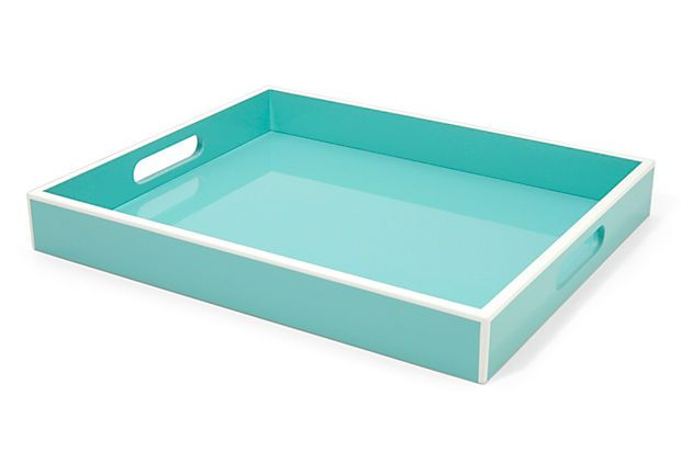 Tray Elle Lacquer Turquoise 14x17 on OneKingsLane.com