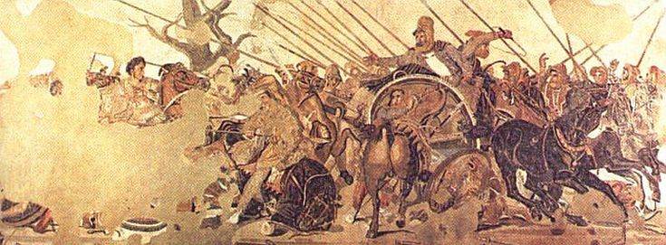 Battle of Issus Mosaic from Pompeii showing Darius on his chariot.