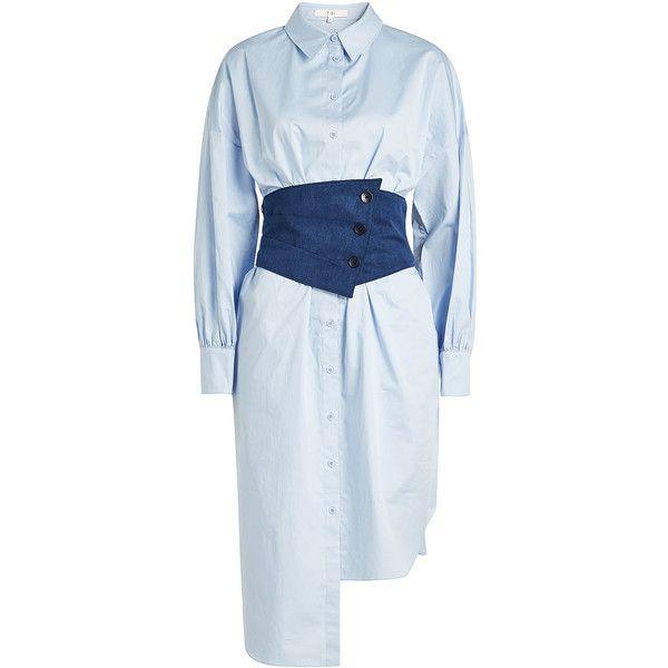 Tibi Cotton Poplin Corset Shirt Dress ($510) ❤ liked on Polyvore featuring dresses, blue, blue color dress, cotton poplin dress, corsette dress, tibi and blue corset