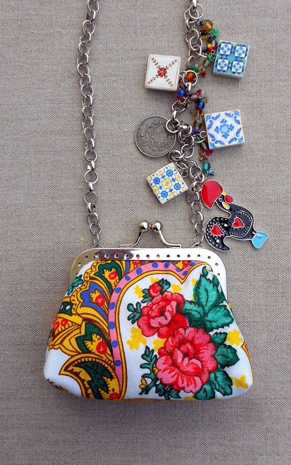 Portugal Viana Folklore Scarf COIN  PURSE and AntiqueTile by Atrio,