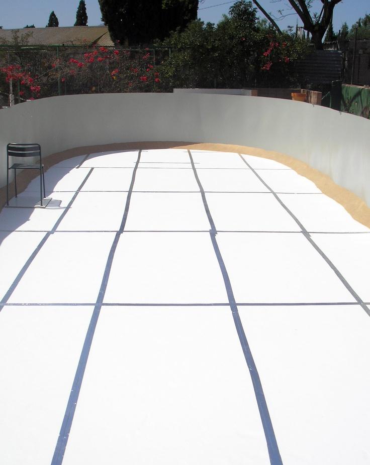 Planchas de poliestireno y arena en piscina desmontable - Planchas de poliestireno ...