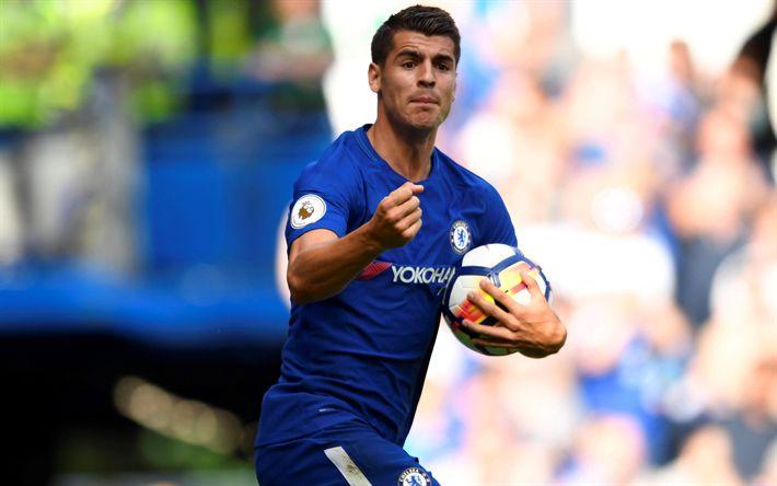 Hämta bilder Alvaro Morata, fotbollsspelare, Chelsea FC, Premier League, fotboll, Chelsea