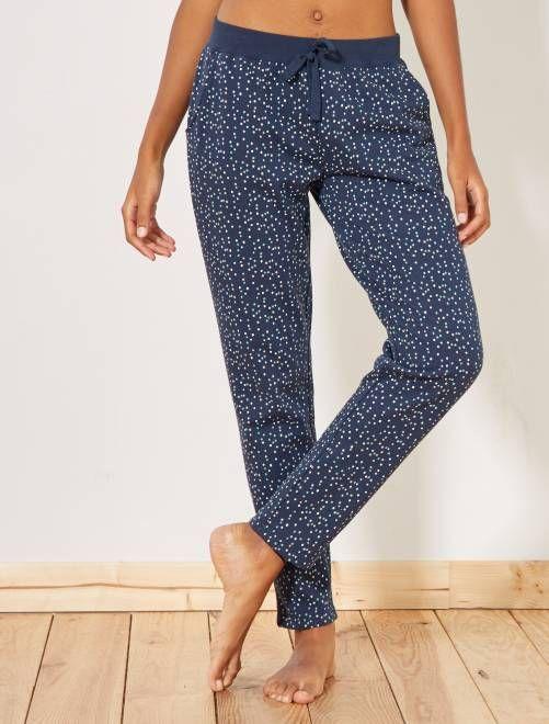 86425294bd98 Pantalón de pijama con motivos azul Lencería de la s a la xxl- Kiabi