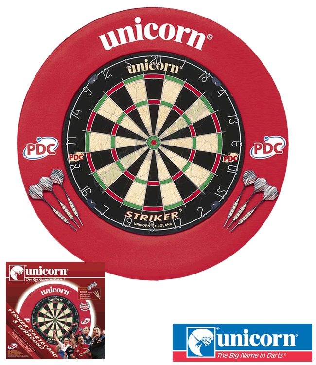 Dartboard Surround Centre - Unicorn - Striker Surround & Striker Dartboard Home Darts Centre - Red - http://www.dartscorner.co.uk/product_info.php?cPath=491&products_id=66024
