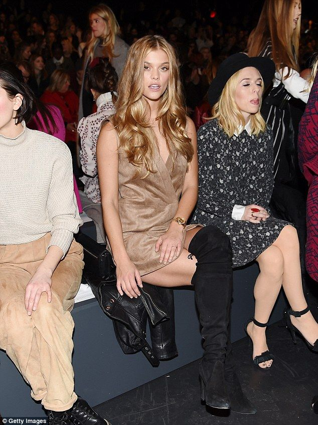 Holding court: Nina Agdal flaunted her toned thighs front row during the fall 2016 BCBG Ma...