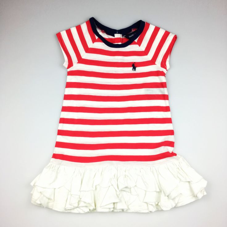 RALPH LAUREN, baby girl's red & white striped ruffle-hem cotton dress, excellent pre-loved condition (EUC), size 12 months, $22
