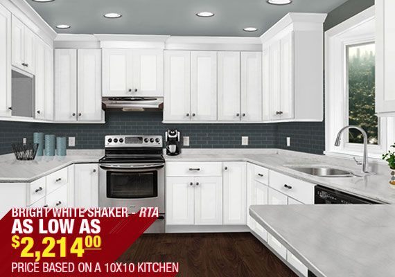Discount white shaker style kitchen cabinets cheap rta for Cheap rta kitchen cabinets