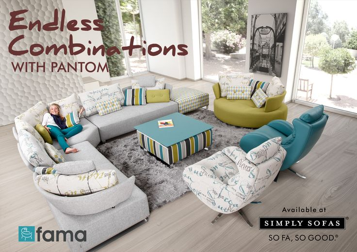 Fama - Pantom extends the concept of single modules with a wide range of measures and combinations that offer new solutions to any home environment. There are endless combinations to choose from. Learn more: http://bit.do/fama ‪#‎SimplySofas‬ ‪#‎Sofas‬ ‪#‎FabricSofas‬ ‪#‎Furniture‬
