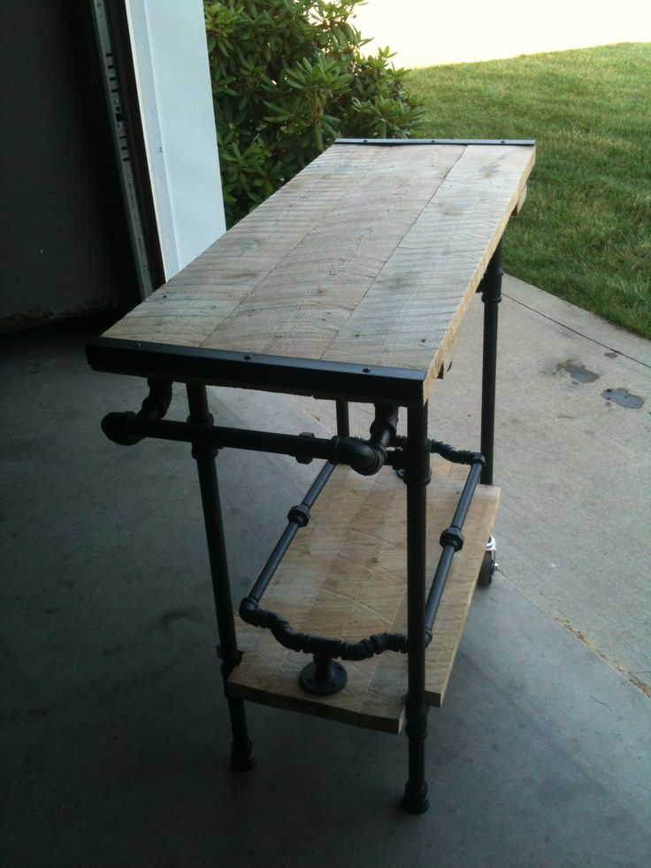 grill cart black pipe furniture pinterest the old sewing machines and trays iron w