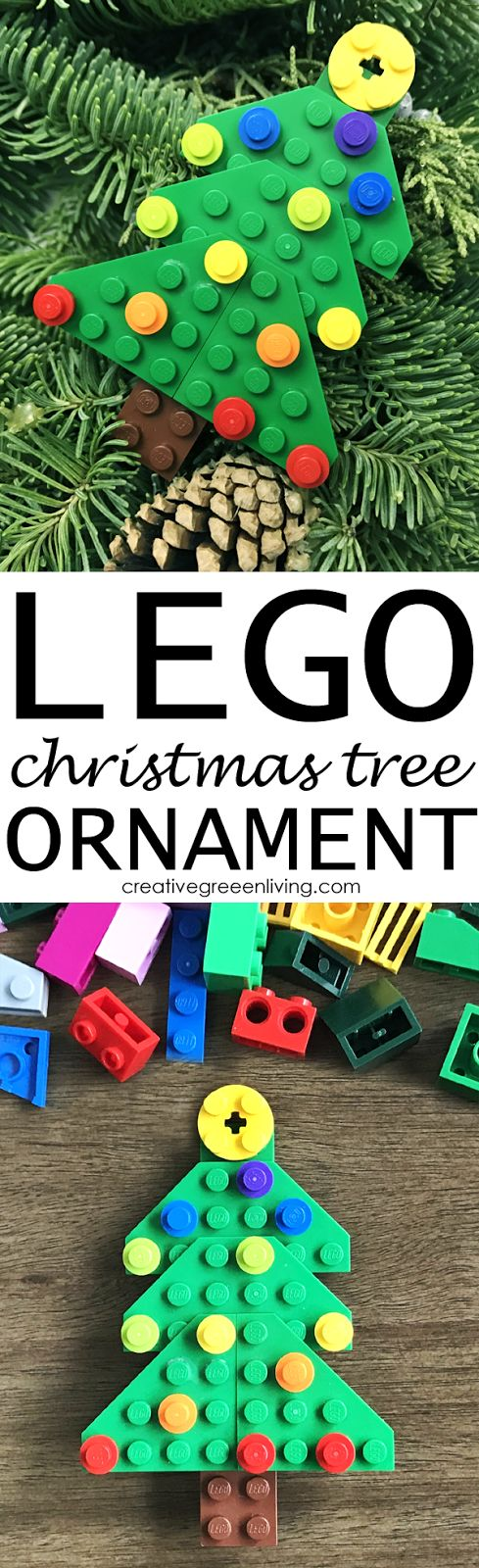 How to make a DIY xmas ornament! Post has instructions for how to make a fun Christmas tree ornament with a few lego bricks. Super easy and fun for kids.