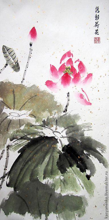 Купить Юность лотоса - елена касьяненко, китайская живопись, гохуа, картина с цветами, картина для интерьера