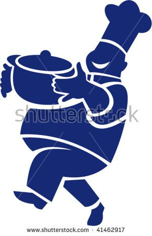 illustration of a chef cook carrying and serving a pot of food  #chef #silhouette #illustration