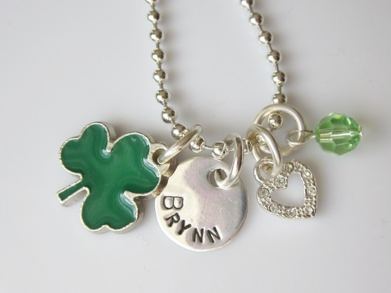 Personalized Irish Shamrock Love and Luck Charm Necklace from the Belle Bambine children's Line. This green and silver sparkling charm necklace will make any little girl feel lucky to be green!