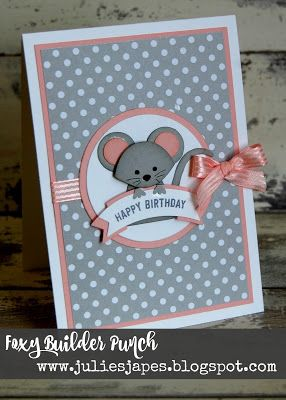 Super cute mouse made with the Fox Builder Punch love the smoky slate and blushing bride together.