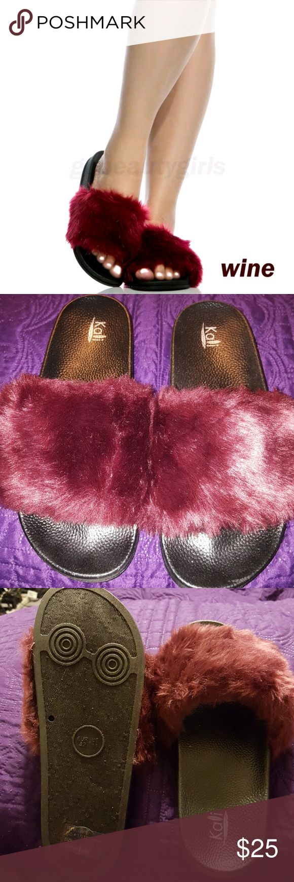 Maroon Kali Fur Slides Maroon Kali Fur slides Shoes Slippers