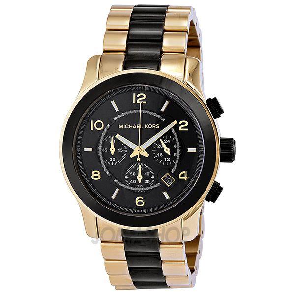 Michael Kors Runway Chronograph Black Dial Gold-Tone Mens Watch MK8265