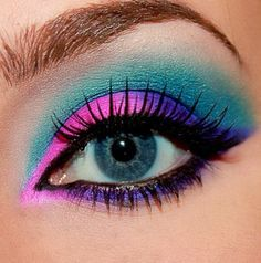 Make a statement with neon eye makeup love bright colors on all eye colors neon eye colors cotton candy eye makeup eyeshadow eye colors blue green