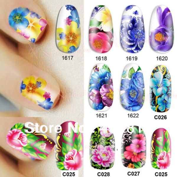 Nail Beauty Nature Colorful Flower Diy Nail Art Polish Foils Decal Stickers Tips Wraps Decoration Water Transfers 10 piece/1 lot 194,58 руб.